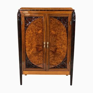 Art Deco Carved Elm Cabinet, 1920s