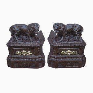 Antique Cast Iron Lion Andirons, Set of 2