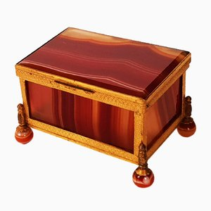 19th-Century Agate & Gilded Brass Jewelry Box