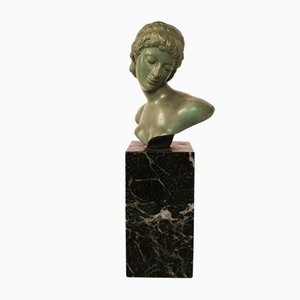 Small Art Deco Bronze Bust Sculpture by Alexandre Ouline, 1930s