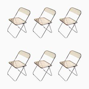 Yellow Plia Folding Chairs by Giancarlo Piretti for Castelli, 1967, Set of 6