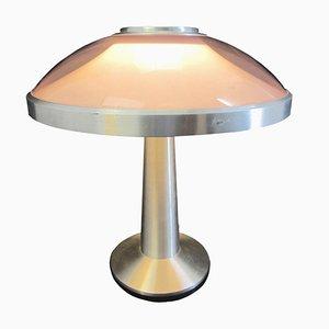 Lámpara de mesa vintage de plexiglás morado y aluminio