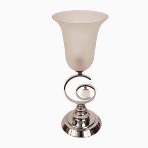 Lámpara de mesa Art Déco de latón niquelado y vidrio, años 30