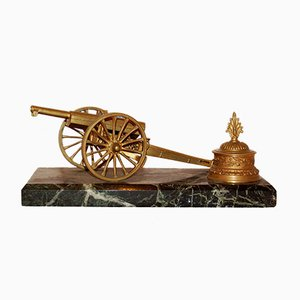 Antique Bronze & Green Marble Cannon Inkwell