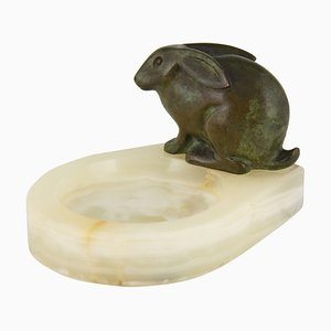 Art Deco Bronze Rabbit Vide Poche French by C. Claude, 1930s