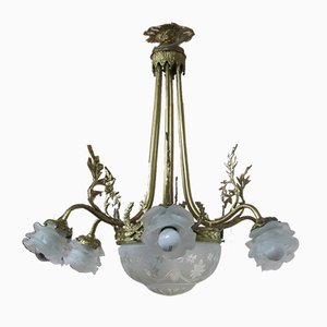 Bronze and Glass Chandelier, 1930s