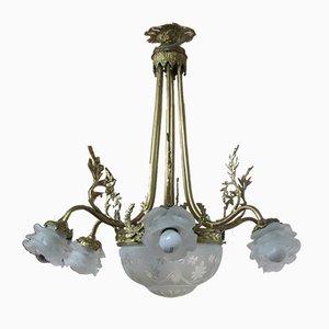 Lámpara de araña de vidrio y bronce, años 30