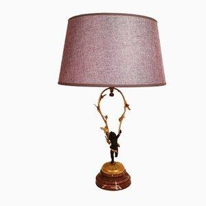 Lampe de Bureau Ancienne en Bronze Doré avec Chérubin