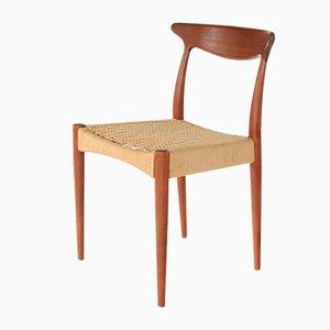 Vintage Esszimmerstuhl mit Gestell aus Teak & Sitz aus Papierkordelgeflecht von Arne Hovmand-Olsen für Mogens Kold, 1960er