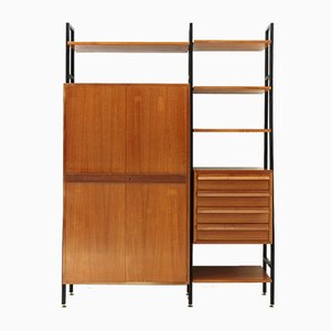 Mid-Century Metal & Wood Shelving Unit, 1950s