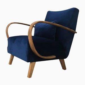 Marineblauer Mid-Century Sessel mit Gestell aus Buche von Jindřich Halabala