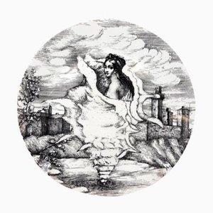 Plato Le Oceanidi nº 3 Mid-Century de porcelana de Piero Fornasetti, años 50