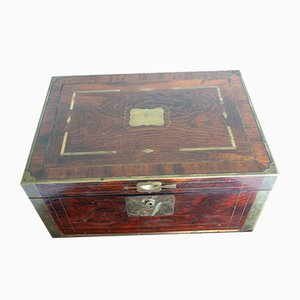 Antique English Navy Walnut Travel Box