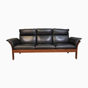 Mid-Century Leather 3-Seater Sofa