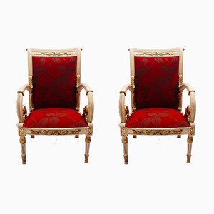 Spanish Carved Armchairs, 1920s, Set of 2