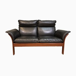 Mid-Century Leather 2-Seater Sofa