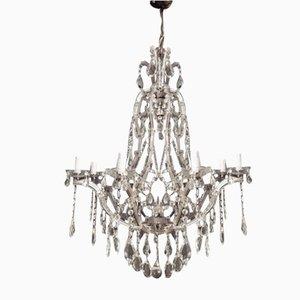 Lámpara de araña italiana vintage de cristal con 9 luces de Murano, años 40