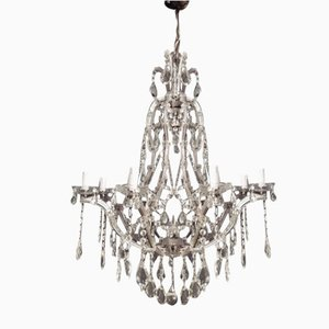 Vintage Italian Crystal 9-Light Chandelier from Murano, 1940s