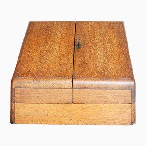 Caja para sobres vintage de roble, años 30