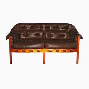Sofá de cuero marrón oscuro, años 60