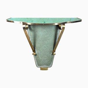 Consola de pared italiana vintage de latón y vitral, años 60