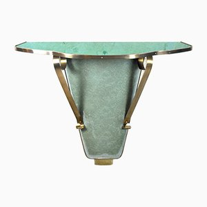 Vintage Italian Brass & Stained Glass Wall Console Table, 1960s