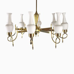 Mid-Century Brass and Opaline Glass Chandelier, 1950s