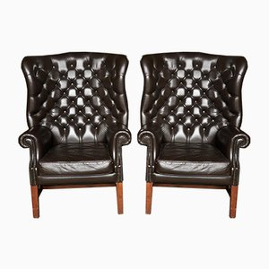 Vintage English Leather Buttoned Wingback Chairs, 1970s, Set of 2
