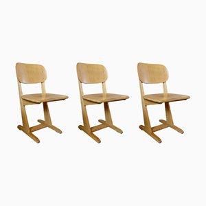 Esszimmerstühle aus Holz von Karl Nothhelfer für Casala, 1960er, 3er Set