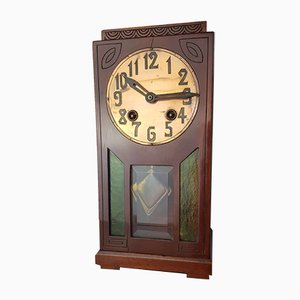 Reloj modernista antiguo de caoba de Gustav Becker, años 10