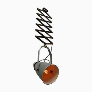 Lámpara de acordeón industrial vintage de aluminio gris y hierro, años 50