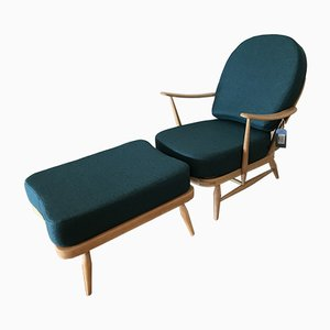 Model 203 Lounge Chair and Model 341 Ottoman by Lucian Ercolani for Ercol, 1970s, Set of 2