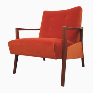 Orangefarbener dänischer Vintage Samtsessel, 1960er