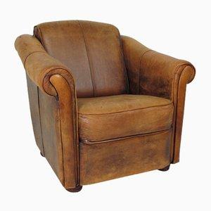 Club chair vintage in pelle, anni '70