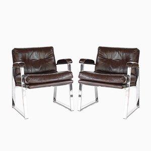 Butacas Mid-Century de metal cromado y vinilo de Patrician Furniture, años 60. Juego de 2