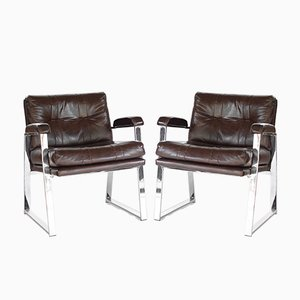 Mid-Century Chromed Metal & Vinyl Armchairs from Patrician Furniture, 1960s, Set of 2