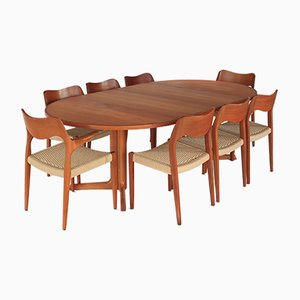 Vintage Model 71 & 55 Dining Room Set by Niels Otto Møller, 1960s