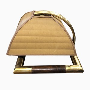 Mid-Century Italian Modern Brass & Leather Table Lamp by Gabriella Crespi, 1960s
