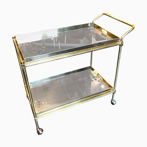 Italian Hollywood Regency Brass and Smoked Glass Bar Cart, 1970s