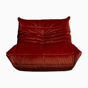 Roter Vintage 1-Sitzer Modell Togo Samtsessel von Michel Ducaroy für Ligne Roset