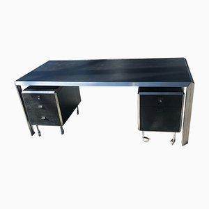 Minimalist Chromed Steel & Stained Ash Desk by Bernard Marange for TFM, 1970s
