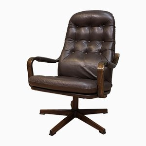 Mid-Century Leather Swivel Chair