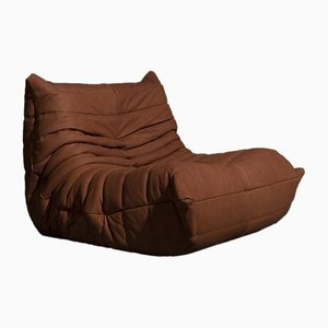 Vintage Cognac Leather Togo Lounge Chair by Michel Ducaroy for Ligne Roset