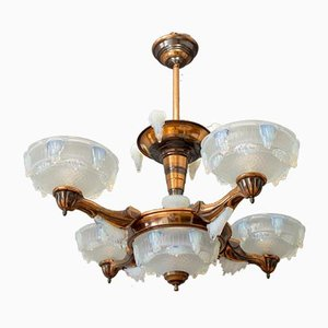 Copper & Opalescent Glass Chandelier from Ezan, 1930s