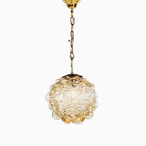 Große runde Deckenlampe aus Sideglas von Helena Tynell für Limburg, 1960er
