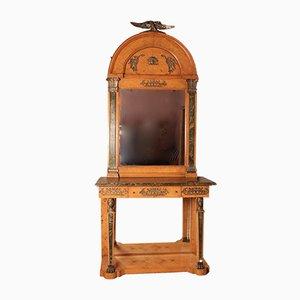 Consolle in stile Impero vintage in betulla satinata con specchio