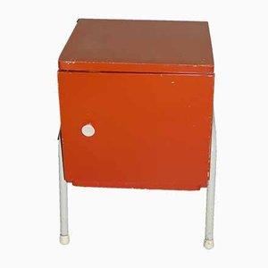 Vintage Industrial Dutch Orange & White Nightstand, 1950s