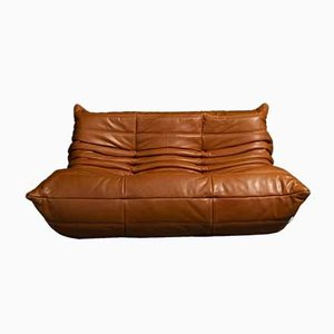 Vintage Cognac Leather Togo 2-Seater Sofa by Michel Ducaroy for Ligne Roset
