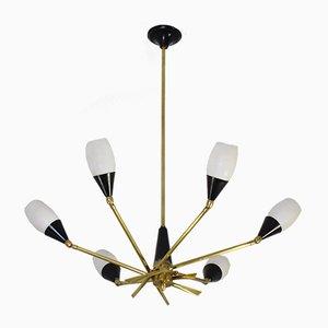 Lámpara de araña italiana Mid-Century de Stilnovo