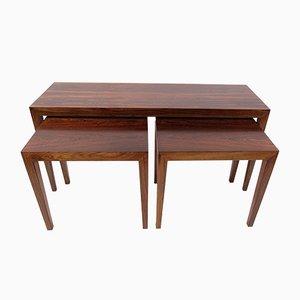 Tavolini ad incastro in palissandro di Severin Hansen per Haslev Møbelsnedkeri, anni '50